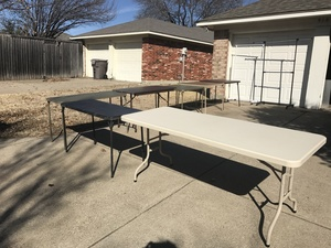 6 Folding Tables and 2 Clothes Racks rental Dallas-Ft. Worth, TX
