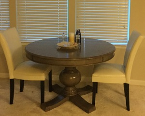 2 faux leather chairs with 1 dining table rental Baltimore, MD