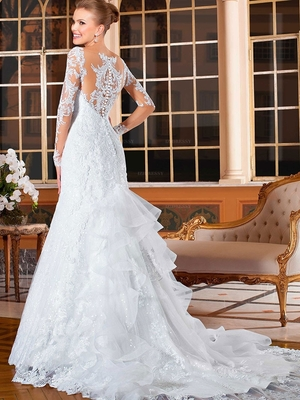 White Sleeved Wedding Dress with Train rental New York, NY