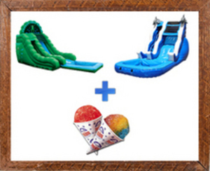 2 Slides + Snow Cone Machine Party Package rental Austin, TX