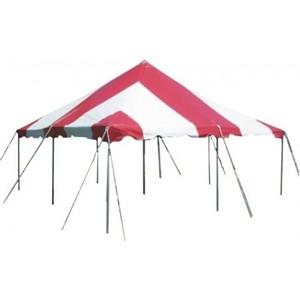 20' x 20' Red & White Pole Tent rental Austin, TX