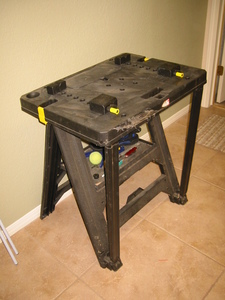 Work bench, plastic, folding, adjustable clamps rental Austin, TX