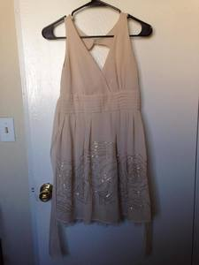 Sparkly Mini Tan-Colored Prom Dress rental San Francisco-Oakland-San Jose, CA