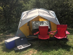 Camping Bundle- tent, stove, chairs, ice chest rental Austin, TX