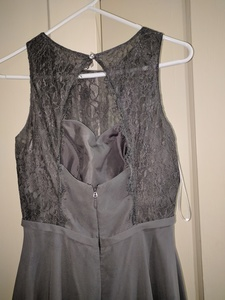 Azazie full length gown in steel gray  rental Washington, DC (Hagerstown, MD)