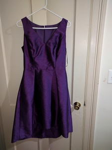 Size 12 Alfred Sung Knee dress in majestic purple  rental Washington, DC (Hagerstown, MD)