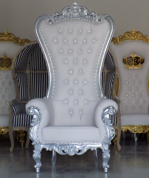 Throne Chair. Silver And White.