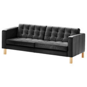 Black Tufted-Leather Sofa rental Austin, TX