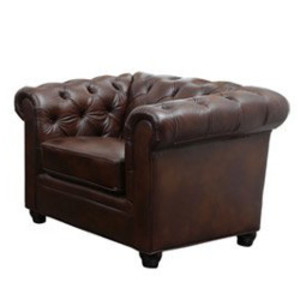 Traditional Brown Leather Armchair rental Austin, TX