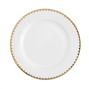 White with Gold Rim Dinner Plate rental Austin, TX