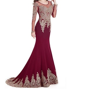 Long-sleeved Burgundy Evening Formal Dress rental Baltimore, MD