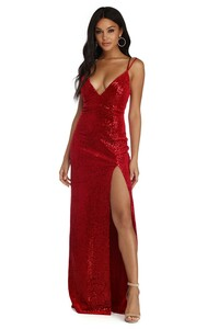 Size M/6 MIRANDA VELVET SEQUIN FORMAL DRESS rental Los Angeles, CA