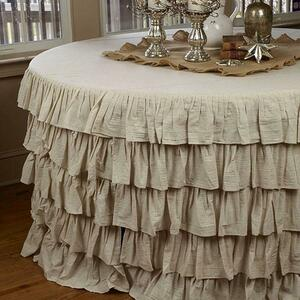 Tablecloth- Rustic Flax Fabric- Ruffled - Wedding rental Savannah, GA