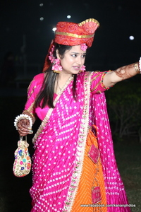 Orange pink bandhini lehnga rental Chicago, IL