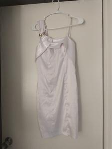 White cocktail dress Giannloui Ferre rental Dallas-Ft. Worth, TX