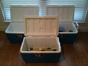 (3) 49 Liter coolers rental Austin, TX